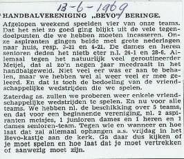 Krantenartikel: Midden Limburg, 13 juni  1969.